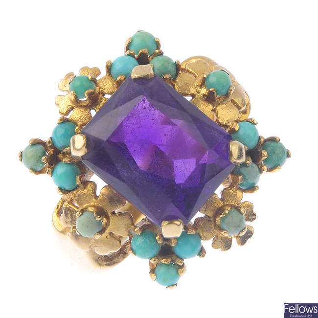 A 1960s 9ct gold amethyst and turquoise dress ring.
