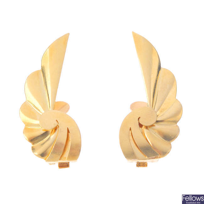 A pair of 1970s 18ct gold earrings.