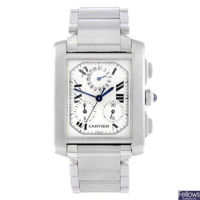 CARTIER - a stainless steel Tank Francaise Chronoflex bracelet watch.