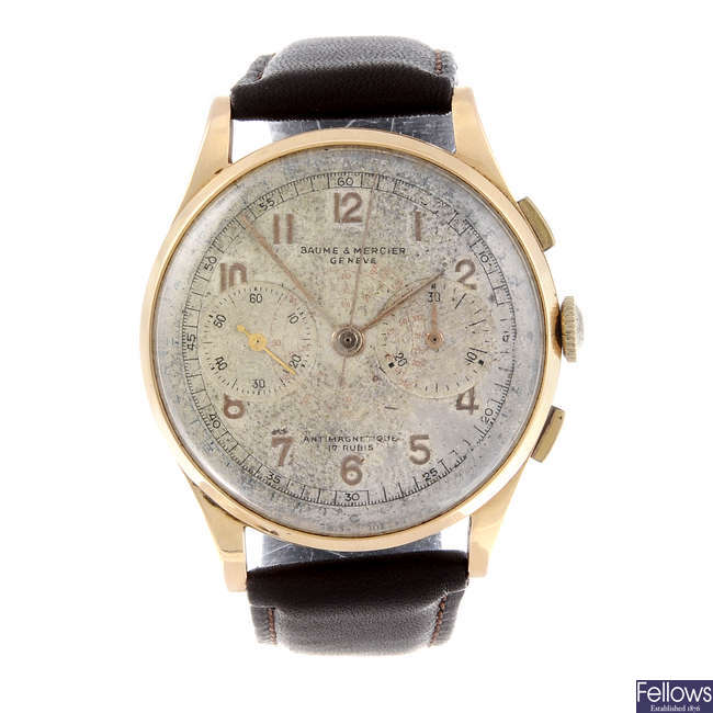 BAUME & MERCIER - a gentleman's yellow metal chronograph wrist watch.