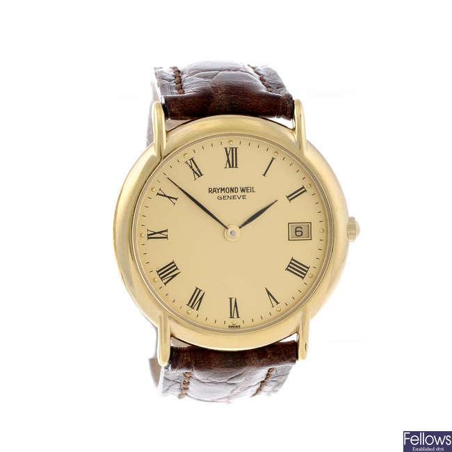 RAYMOND WEIL - a gentleman's gold plated wrist watch together with a lady's Raymond Weil bracelet watch.