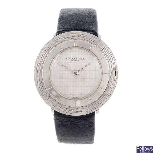 AUDEMARS PIGUET - a white metal wrist watch.
