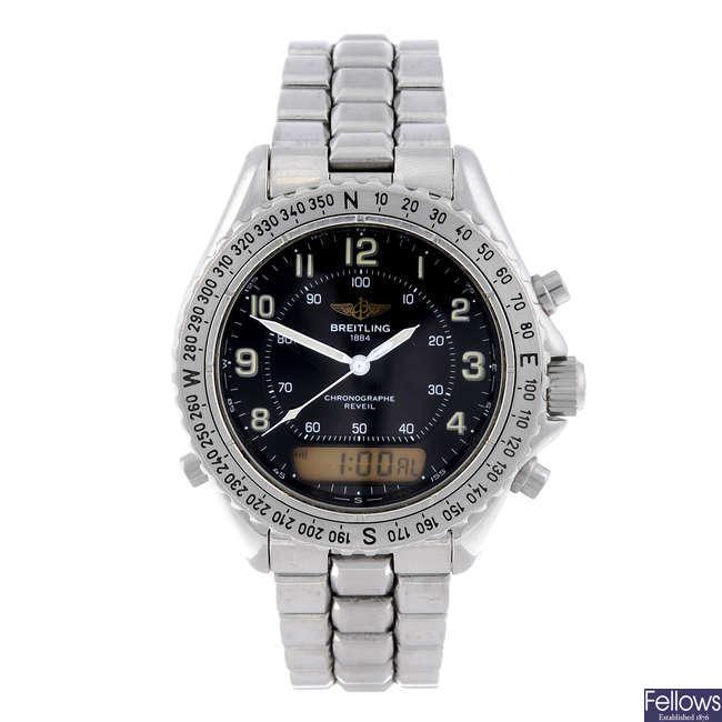 BREITLING - a gentleman's stainless steel Aeromarine Intruder bracelet watch.