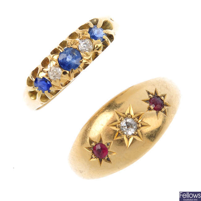 Two early 20th century 18ct gold diamond and gem-set rings.