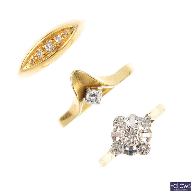Three 18ct gold diamond rings.