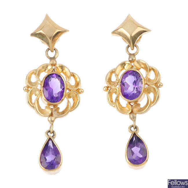 A pair of 9ct gold amethyst earrings.