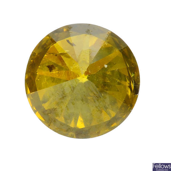 A brilliant-cut colour treated 'yellow' diamond, weighing 1.30cts.