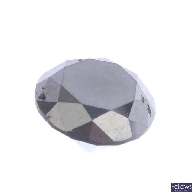 A brilliant-cut colour treated 'black' diamond, weighing 4.89cts.