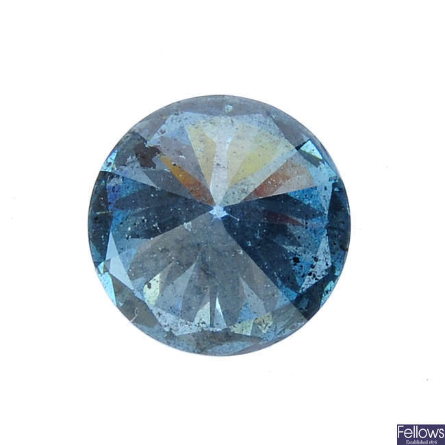 A brilliant-cut colour treated 'blue' diamond, weighing 0.81ct.