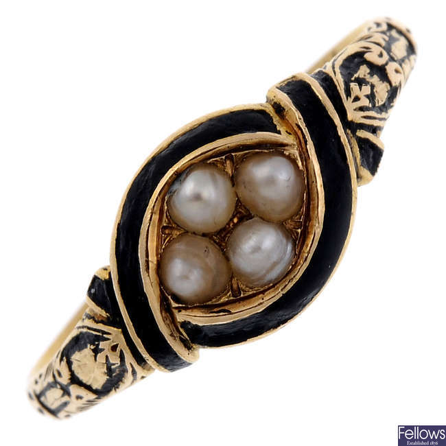 A mid Victorian gold split pearl and enamel memorial ring.