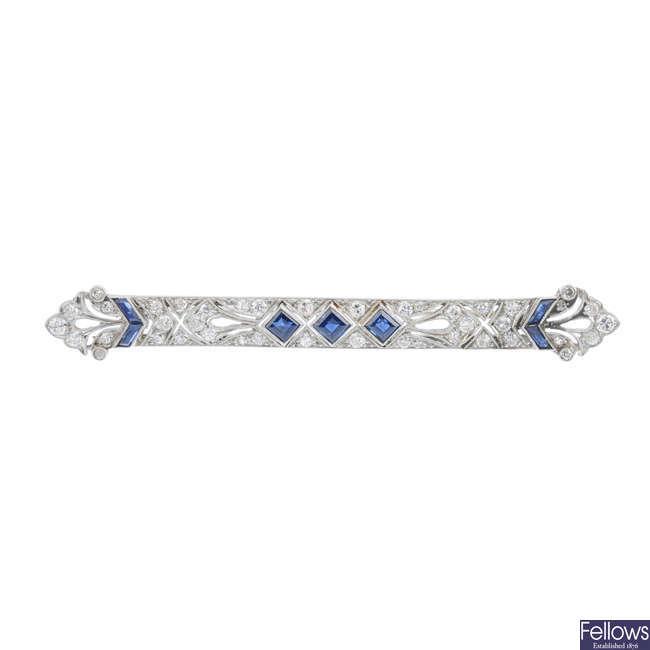 An Art Deco sapphire and diamond brooch.