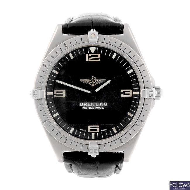BREITLING - a gentleman's titanium Aerospace wrist watch.