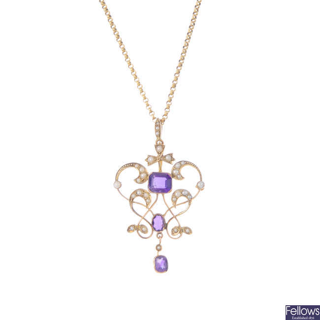 An early 20th century 9ct gold amethyst and split pearl pendant, with 9ct gold chain.