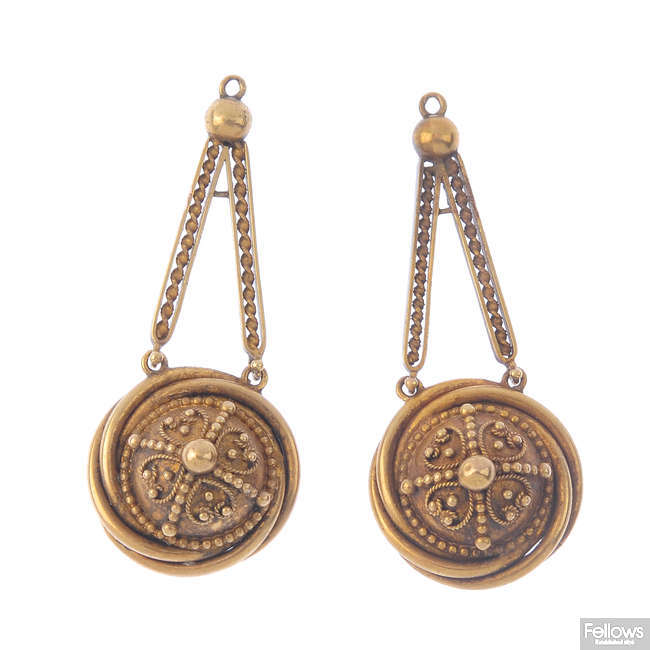 A pair of mid Victorian jewellery components.