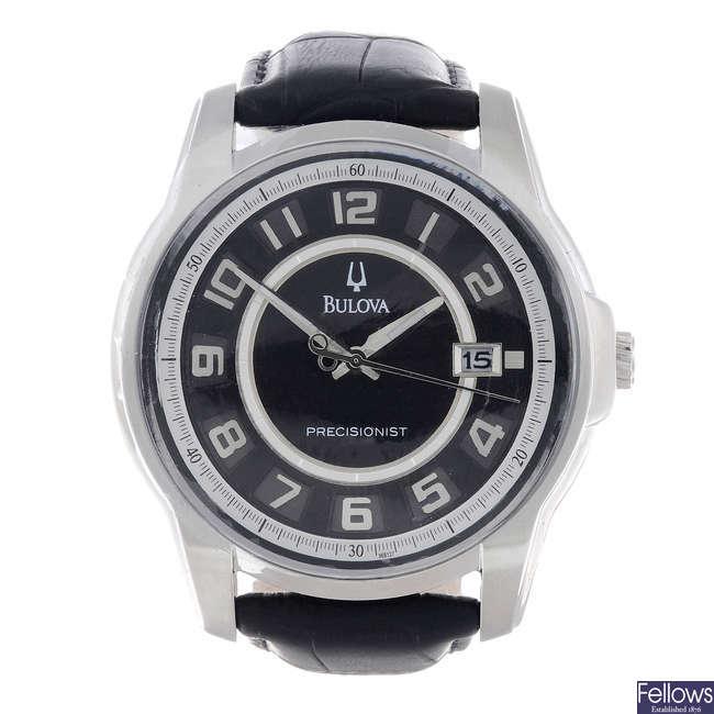 BULOVA - a gentleman's stainless steel Precisionist wrist watch.