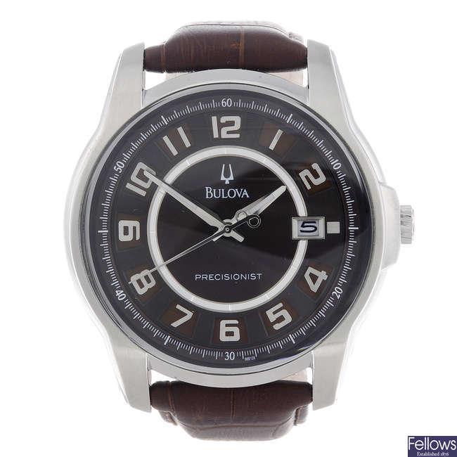 BULOVA- a gentleman's stainless steel Precisionist wrist watch.