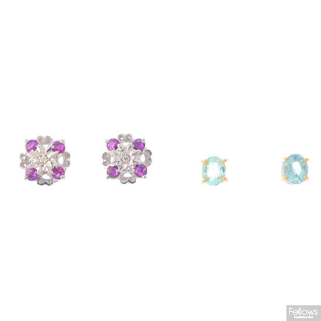Three pairs of gem-set earrings.