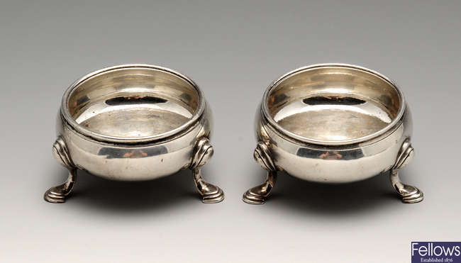 A pair of George II silver open salts.