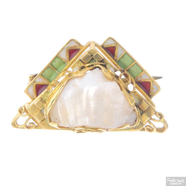 An early 20th century gold baroque pearl and enamel brooch.