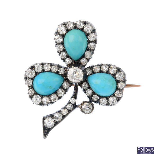 A late Victorian turquoise and diamond brooch.