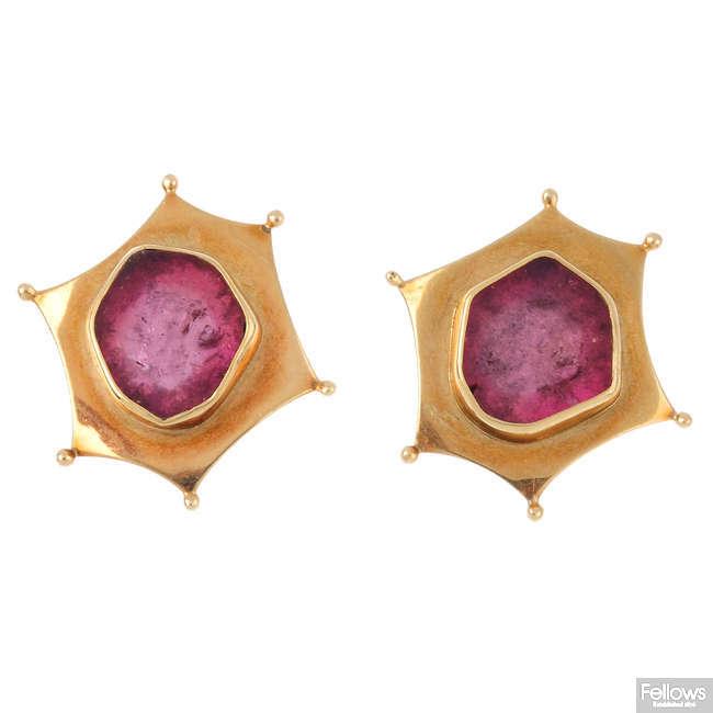 A pair of tourmaline stud earrings.