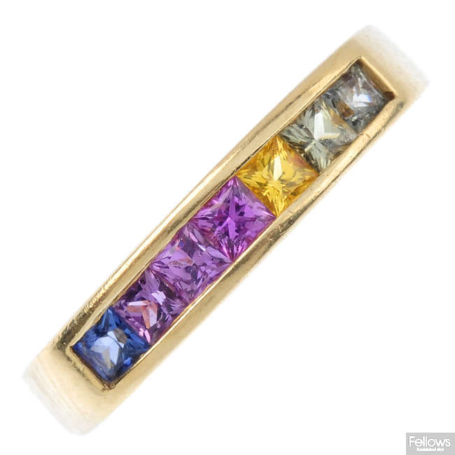 A sapphire seven-stone ring.