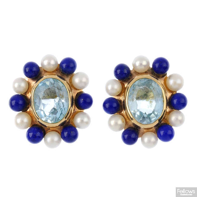 A pair of 9ct gold topaz, lapis lazuli and cultured pearl stud earrings.