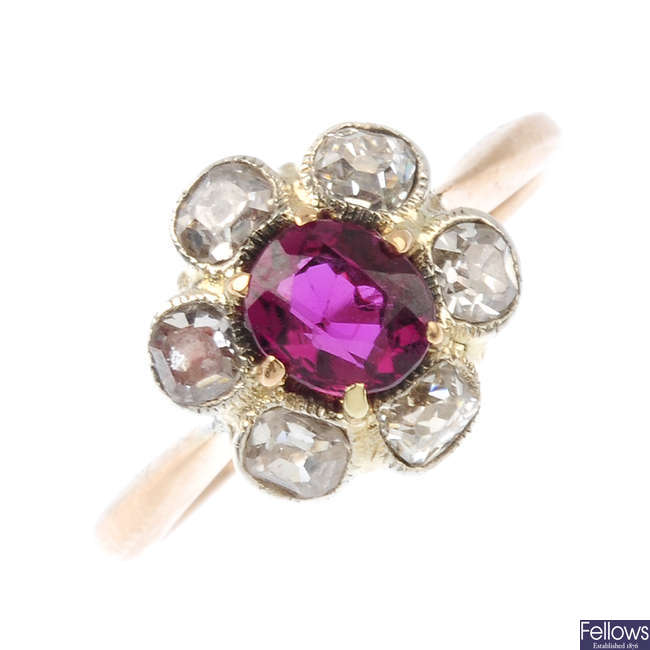 A Thai ruby and diamond floral cluster ring.