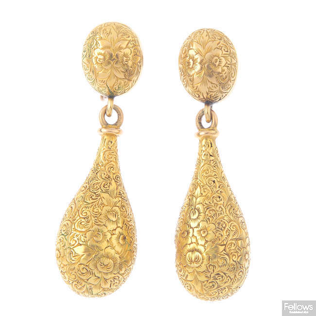 A pair of mid Victorian gold earrings.