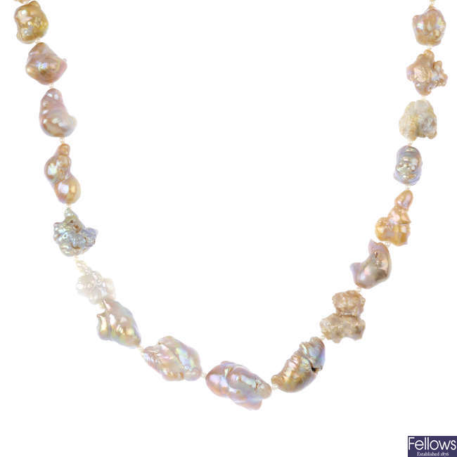 A baroque freshwater and saltwater natural pearl necklace.