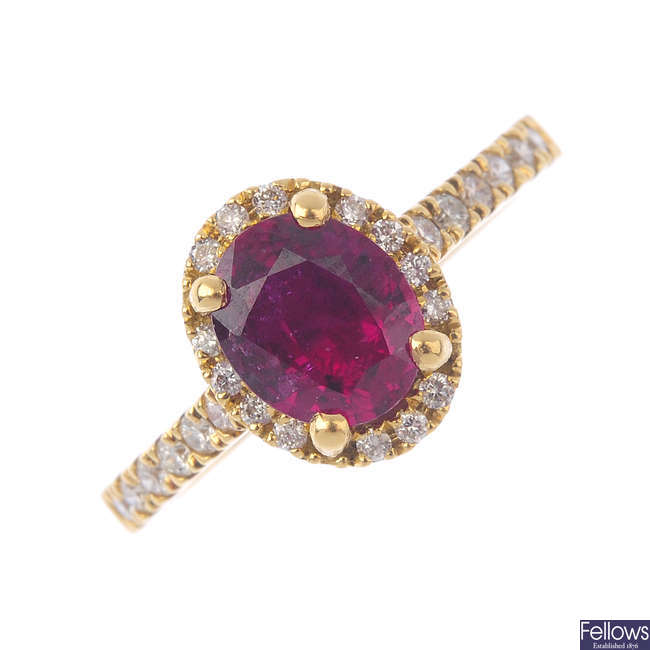 An 18ct gold Madagascan ruby and diamond ring.