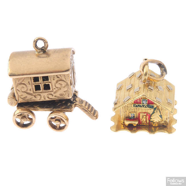 Two articulated novelty charms.