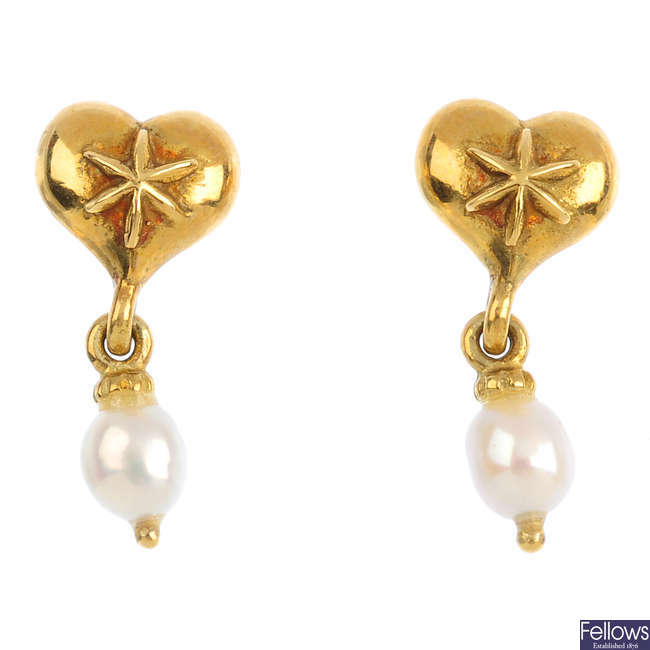 A pair of 18ct gold cultured pearl earrings.