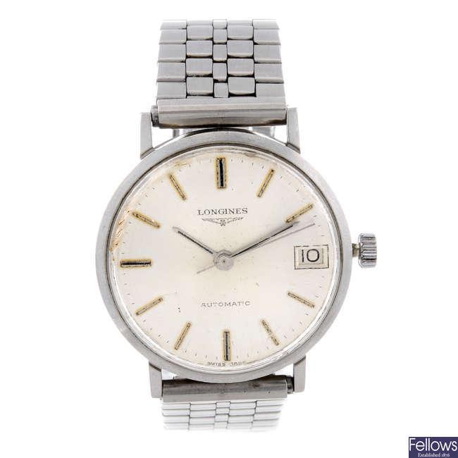 LONGINES - a gentleman's stainless steel bracelet watch.
