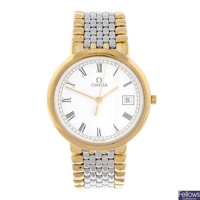 OMEGA - a gentleman's bi-colour De Ville bracelet watch with two Omega De Ville bracelet watches.