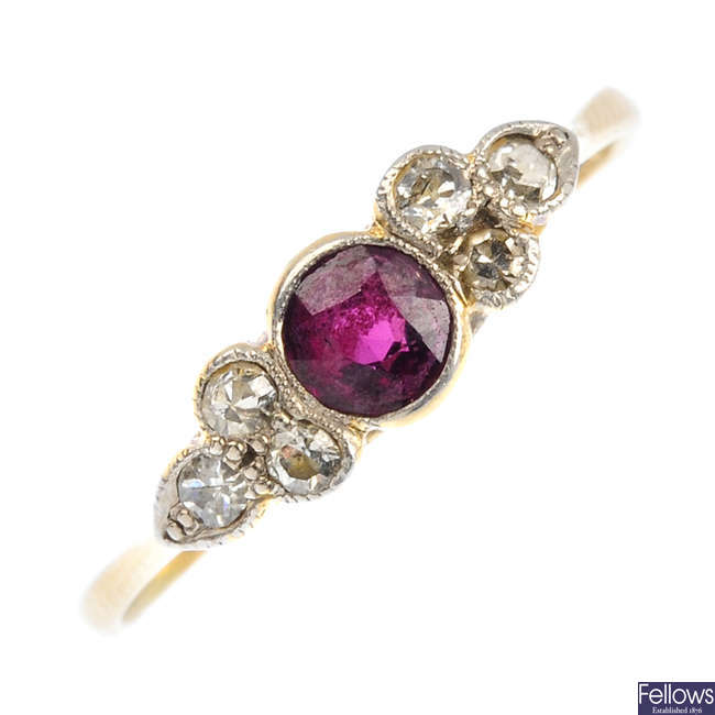 A mid 20th century 18ct gold ruby and diamond ring.