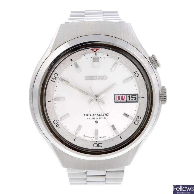 SEIKO - a gentleman's stainless steel Bell-Matic bracelet watch with a Zenith wrist watch.