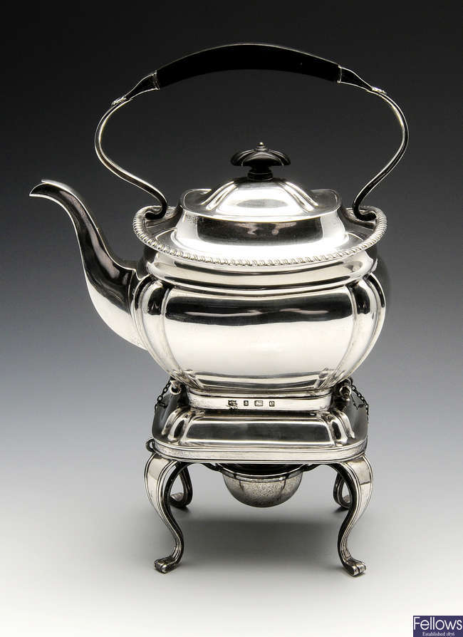 An Edwardian silver spirit kettle on stand.