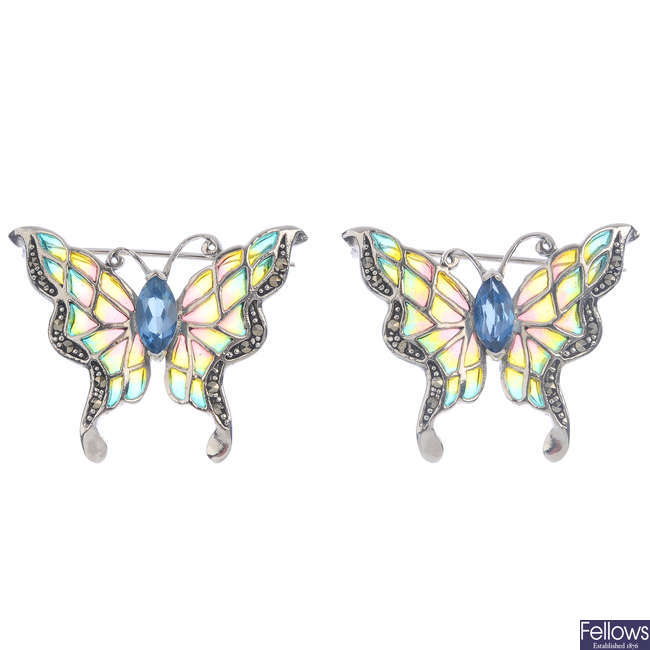 Two topaz, enamel and marcasite butterfly brooches.