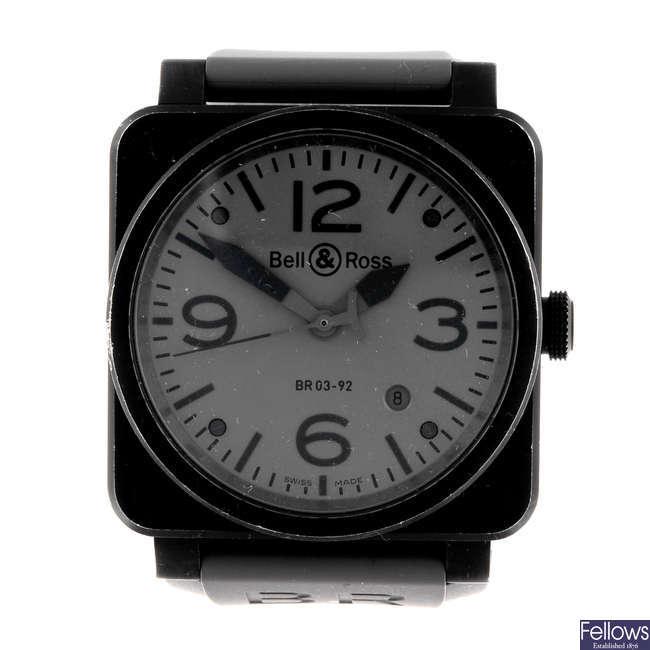 BELL & ROSS - a gentleman's PVD treated stainless steel Commando wrist watch.