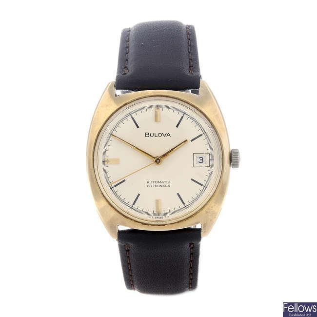 BULOVA - a gentleman's 9ct yellow gold wrist watch.