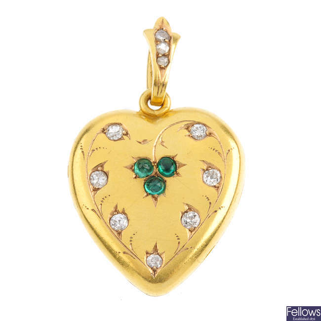 A late Victorian gold emerald and diamond heart locket.