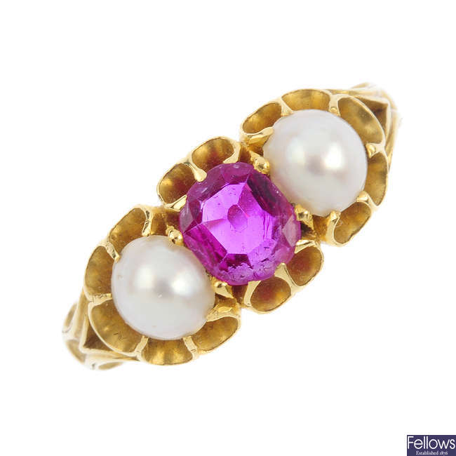 An early 20th century sapphire and split pearl ring.