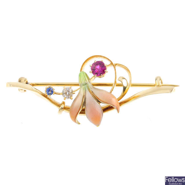 An early 20th century 15ct gold enamel and gem-set brooch.