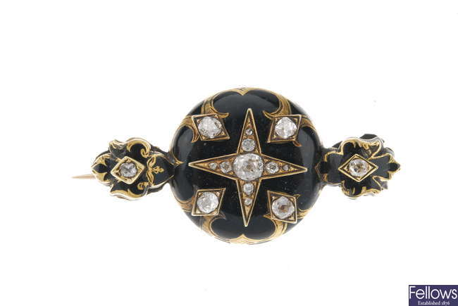 A late 19th century gold, diamond and enamel memorial brooch.