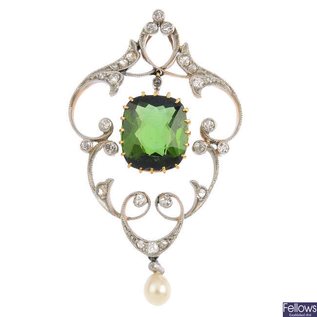 An Edwardian 15ct gold and silver, tourmaline, diamond and pearl pendant.