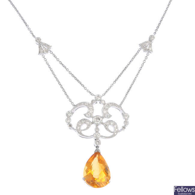 An 18ct gold citrine and diamond necklace.