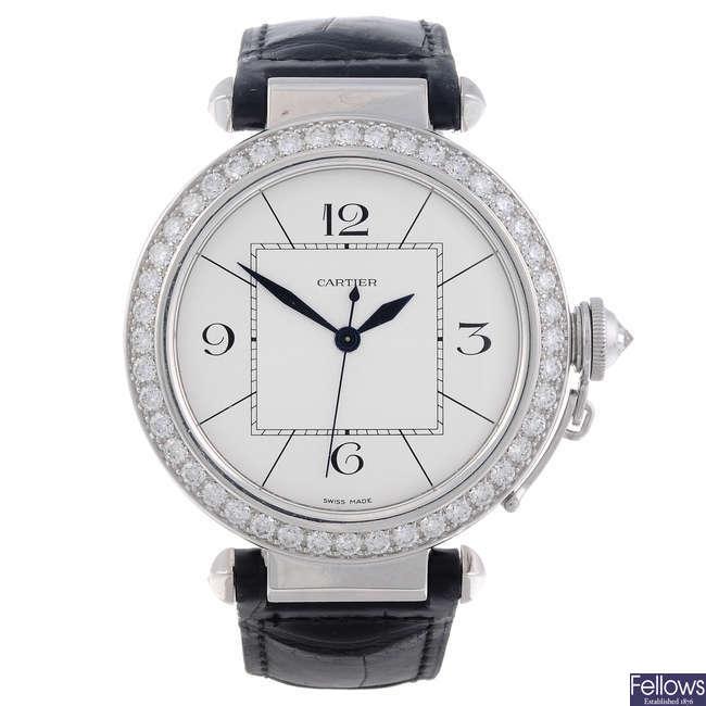 CARTIER - an 18ct white gold Pasha wrist watch.