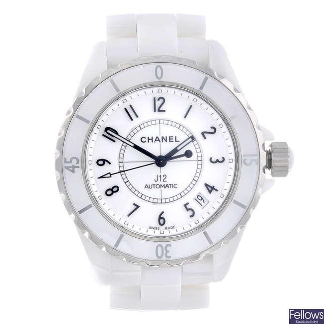 CHANEL - a ceramic J12 bracelet watch.