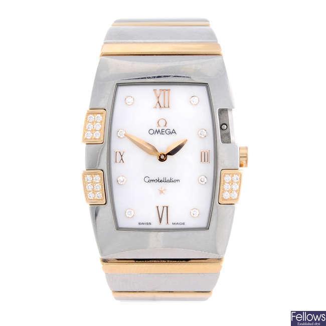 OMEGA - a lady's bi-metal Constellation Quadrella bracelet watch.